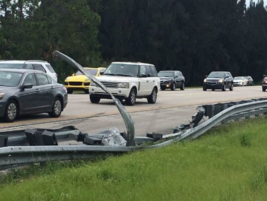 Guard rail damaged on I-95.