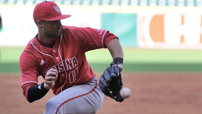 UL third baseman Alex Pinero catches a line drive in Friday's 7-1 loss to TCU at Minute Maid Park.