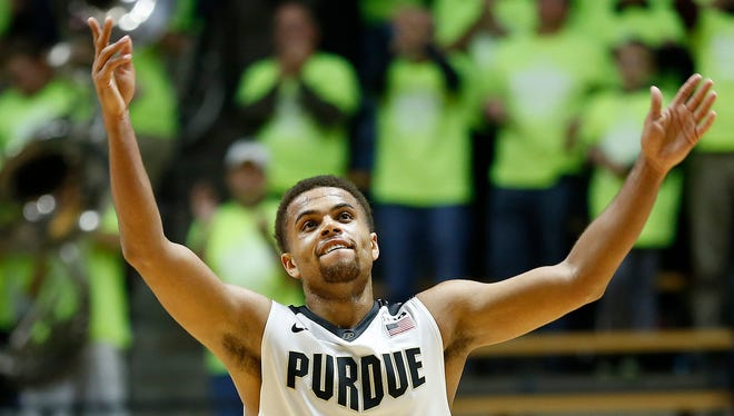 P.J. Thompson waves his arms as the final seconds tick away in Purdue's 75-64 victory over Ohio State Thursday, January 21, 2016, at Mackey Arena.