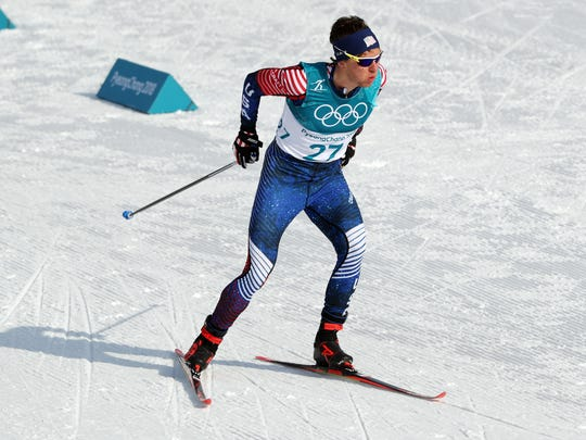 Scott Patterson (USA) competes during the mens cross country 15km freestyle at the Pyeongchang 2018 Olympic Winter Games at Alpensia Cross-Country Centre.