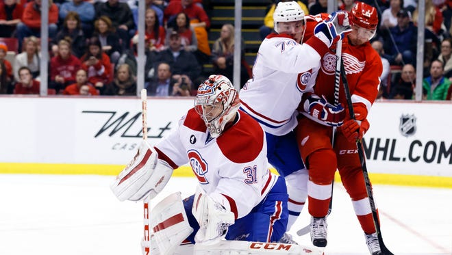 Montreal Canadiens goalie Carey Price (31) makes the save in the third period against the Detroit Red Wings at Joe Louis Arena.
