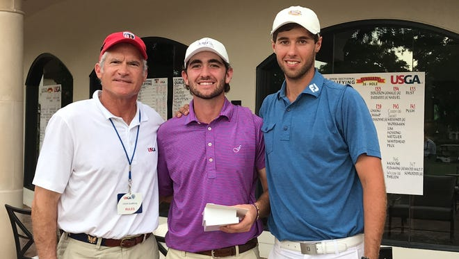 LSU golfers Philip Barbaree Jr. (center) and Jacob Bergeron (right) tied for medaliist honors in a U.S. Open sectional qualifier Monday near Houston to earn berths into the U.S. Open next week at Shinnecock Hills.