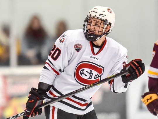 St. Cloud States's  Will Borgen skates against the University of Minnesota-Duluth during the first period Saturday, Nov. 4, at the Herb Brooks National Hockey Center.