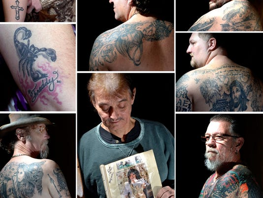 Artist Scott Black, low center photo, recently lost his battle with cancer. Over his career Black was recognized for his tattoo work as well as art designs on custom guitars. He was featured in Tattoo Magazine's August 1991 issue, which he is holding in the photo. Some of Black's customers show off their tattoos. Clockwise, starting from lower left: David Dill of Red Lion, Heather Shoff of Newberrytown, Cody Wright of Newberry Twp., Joey Wayne Herman of York, Troy Myers of West York, Shawn Lapham of Emigsville and Dale Ritter of York.