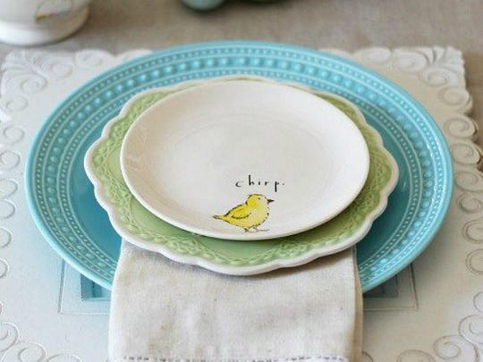 Here, we layered a blue and green plates. The sweet little chick plate is perfect for Easter.