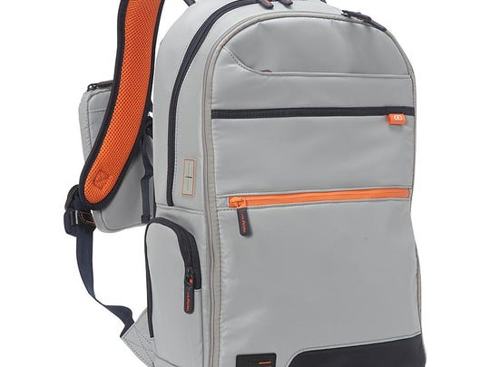 The Hedgren Connection Junction Backpack supports an external battery for charging up mobile devices (not included) with a retractable USB cord for added convenience.