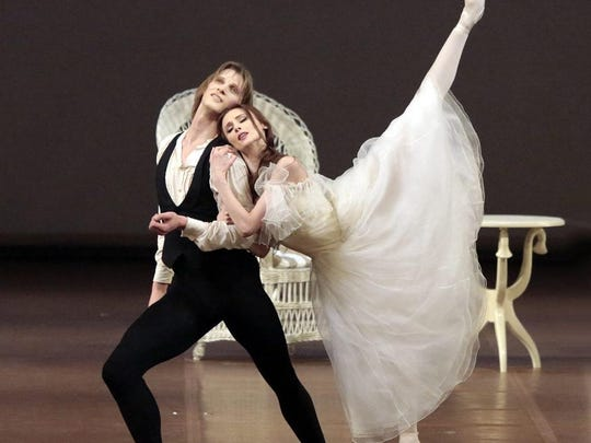 """Dancers Edvin Revazov and Svetlana Zakharova perform in the Bolshoi Ballet production of """"Lady of the Camellias"""" to be screened March 13 at the Rosendale Theatre."""