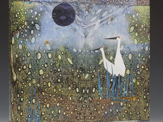 """Collage by Gail McCoy, one of the featured artists in """"Art Show 8: Painters, Paper, and Printmakers"""" at Plum Bottom Pottery and Gallery in Egg Harbor."""