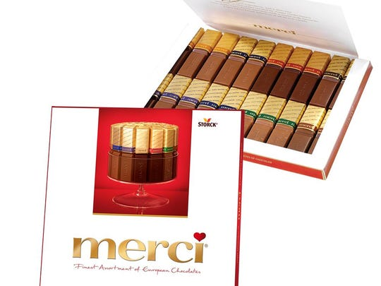 Merci chocolates come in a variety of flavors.