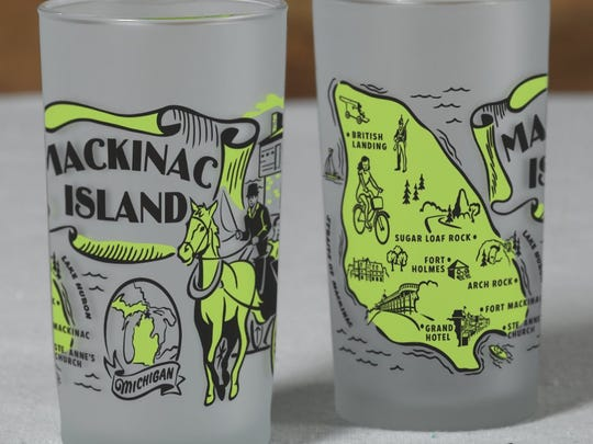 Frosted souvenir glasses touting Mackinac Island sell for $9.50 each at www.shoppeninsulas.com.