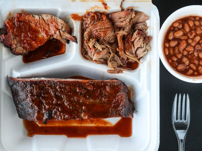 The meat sampler from River Road BBQ has 1/4 pound