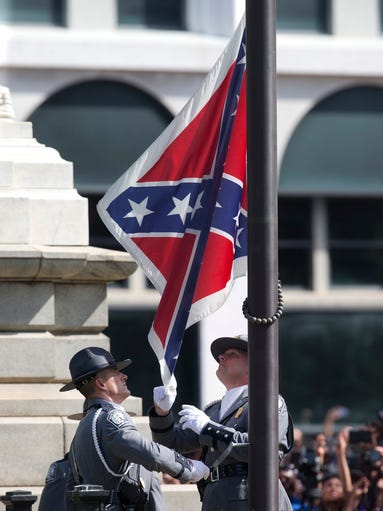 An honor guard from the South Carolina Highway patrol
