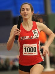 Olivia Floria of Northern Highlands runs in the 4-x-400 meters at the New Jersey State Meet of Champions in Toms River. Sunday, Feb. 26, 2017.