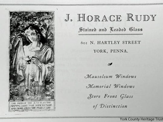 Undated J. Horace Rudy ad from catalog of York architect Harry Yessler