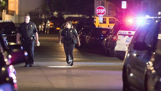 New Bedford police blocked a five-square block area of Nash Road in New Bedford around 11:30 p.m. Wednesday night, June 3, 2020, during a search for a resident after shots were fired in the city. Police were pursuing a vehicle involved in a Brockton shooting when people inside the vehicle fired shots in New Bedford.