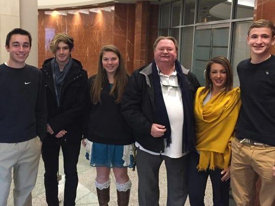 Tatnall's Jackson Nestor '17, Ansel Tessier '18, Lara Jensen, Dr. Dean Goodwin, Jacqueline Cameron, staff assistant to Sen. Tom Carper, and Cole Bottorff after a meeting about global warming.