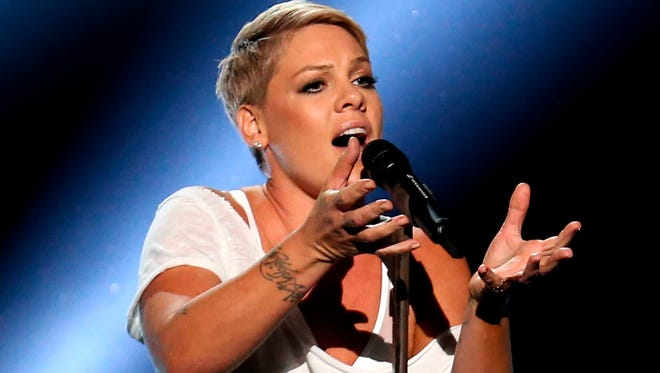 """Pink performs """"Wild Hearts Can't Be Broken"""" at the Grammy Awards at Madison Square Garden in New York on Jan. 28, 2018."""