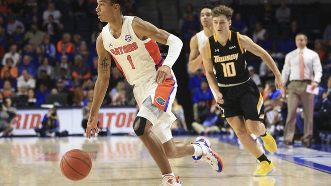 Florida sophomore guard Tre Mann (1) should get a shot at playing the point, although the Gators also have sophomore Ques Glover and former Cleveland State standout Tyree Appleby at the all-important position.