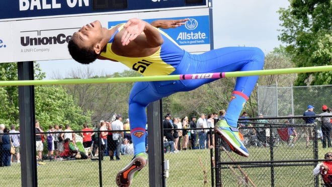 Myles Pringle of Northwest won the men's high jump at the Winton Woods District track meet May 22.
