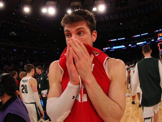Badgers forward Ethan Happ and the Badgers lose a tough