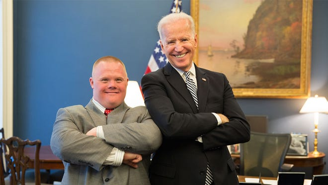 Vice President Joe Biden with Jonathan Stoklosa, in the Vice President's West Wing Office.
