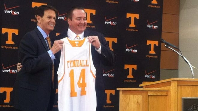 UT athletics director Dave Hart and new men's basketball coach Donnie Tyndall.