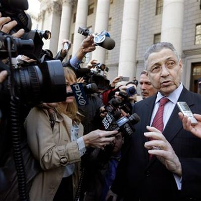 Former New York state Assembly Speaker Sheldon Silver speaks to reporters as he leaves court in April in New York. Silver was convicted on corruption charges Monday and faces decades in prison.
