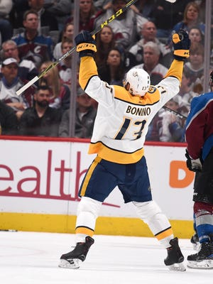 Nashville Predators center Nick Bonino (13) celebrates his goal during the second period of game 6 in the first round NHL Stanley Cup Playoffs at Pepsi Center, Sunday, April 22, 2018, in Denver, Colo.