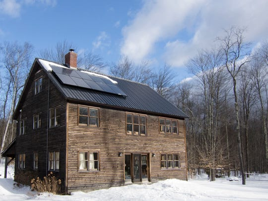 A SunCommon rooftop solar array at a home in Stowe.