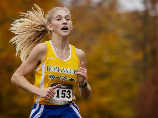 Trumansburg's Molly MacQueen on her way to a win in the girls Class D Section 4 cross country championships Nov. 3 at Chenango Valley State Park.