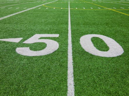 fifty yard line - football