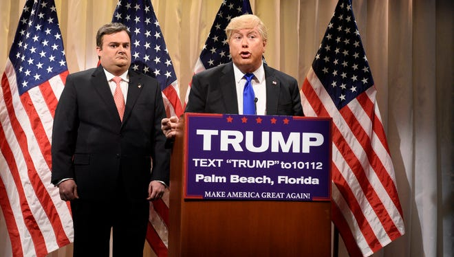 "SATURDAY NIGHT LIVE -- ""Jonah Hill"" Episode 1697 -- Pictured: (l-r) Bobby Moynihan as Governor Chris Christie and Darrell Hammond as Donald Trump during the ""CNN Election Center Cold Open"" sketch on March 5, 2016 -- (Photo by: Dana Edelson/NBC)"