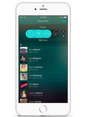 A screenshot of the social app Vero.