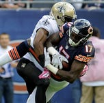 Bears wide receiver Alshon Jeffery caught 10 passes for 218 yards against the Saints and is an ideal No. 2 option for owners.