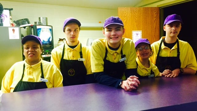 From left: Cheye Owens, Nick Ditter, Trevor Teumer, Mckayla Nack and Skyler Peterson said one of their favorite parts about working at the Falcon Java Roost is donating a portion of proceeds to the community.