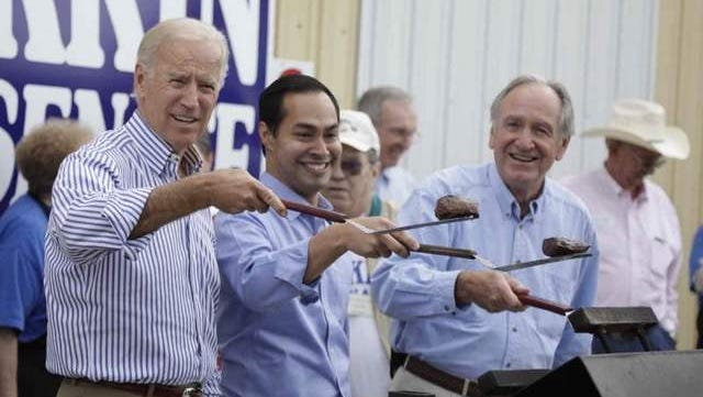 Vice President Joe Biden, left, flipped steaks at the Harkin Steak Fry in September 2013.
