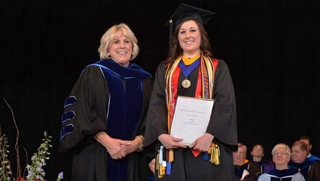 From left: Monmouth University Alumni Association President Judith Cerciello 96 and Kaitlyn Sue Baklarz 14