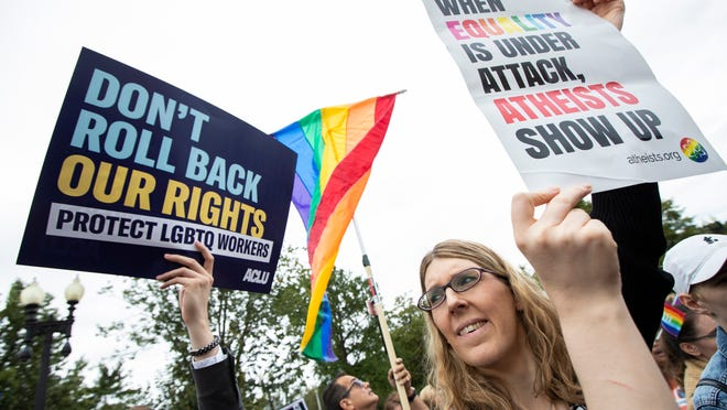 LGBT supporters in front of the U.S. Supreme Court, in Washington.