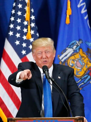 Republican presidential candidate Donald Trump addressed a rally Sunday, April 3, 2016, at Nathan Hale High School in West Allis, Wis.