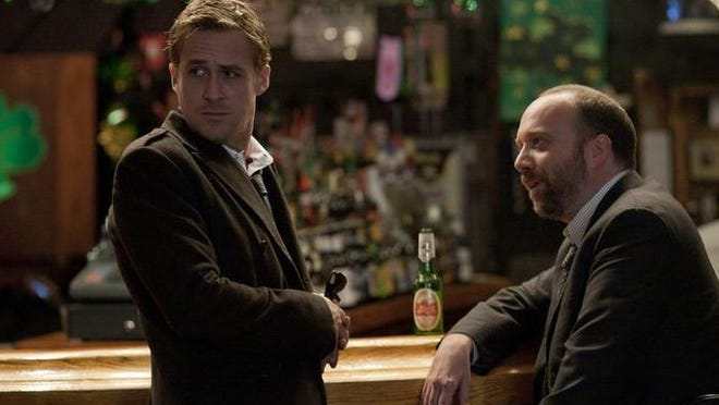 """Head First Sports Café, Downtown Political campaign rivals played by Ryan Gosling and Paul Giamatti met in 2011 at the sports bar, at 218 W. Third St., in """"The Ides of March."""" Duffy (Paul Giamatti, right) asks Stephen (Ryan Gosling) to jump over to the Pullman campaign in """"The Ides of March."""""""