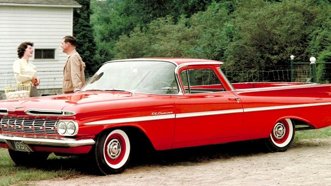 The first Chevrolet El Camino appeared in 1959 and was assembled on the Chevy Brookwood two-door station wagon chassis. It comprised of BelAir exterior trim and a Biscayne interior.