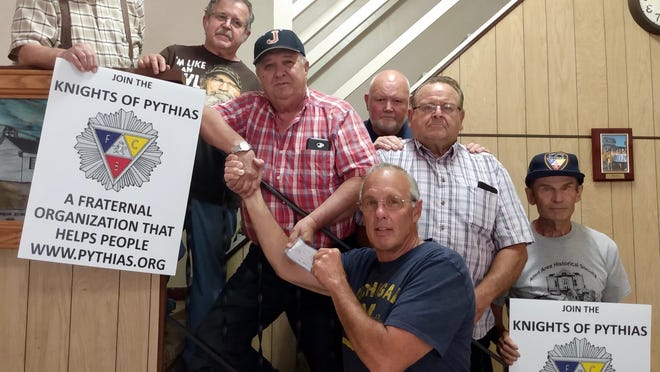 The Knights of Pythias Allen Lodge 230 recently donated funds to the Hillsdale County Special Olympics. From left to right: Phil Wilson, Ken Todd, Jack Johnson, Bill Smith, Bill Watkins and Charles Batt with Gary Morrison in front.