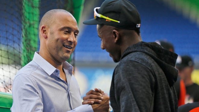 Lewis Brinson appreciates the support of Marlins CEO Derek Jeter through his struggles since joining the team. He was batting .131 entering the series against the Brewers, his former team.