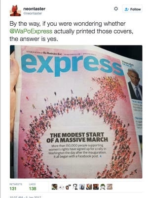 The edition of WaPo Express with a male symbol instead of a female symbol.