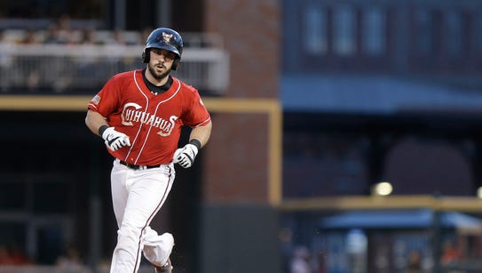 Chihuahuas catcher Austin Hedges rounds second base