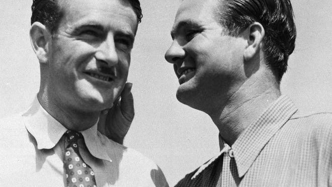 Lloyd Mangrum (left) opened the 1940 Masters with a record 64. Jimmy Demaret (right) tied Mangrum for the lead after the second round, then pulled away from him over the final two days for a 4-shot victory.