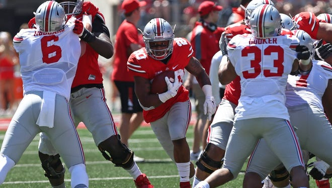 Ohio State running back Mike Weber plays during the spring game April 16, 2016, at Ohio Stadium.