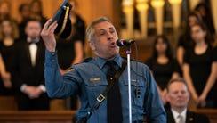 Lt. Thomas Cavallo of NJSP sings God Bless America