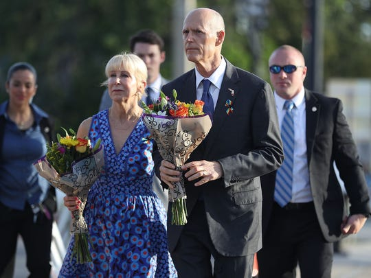 Florida Governor Rick Scott and his wife, Ann Scott,