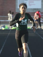 Madison's Cheyanne Davis leads the way in the 400 meter